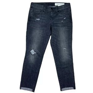 TREASURE AND BOND Raw Edge Crop Destroyed Jeans